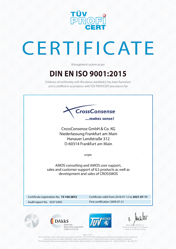 TUEV ISO 9001:2015 Certificate