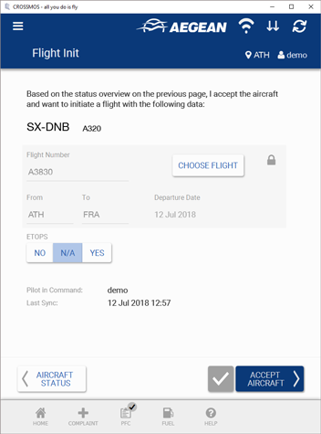 CROSSMOS Flight Init for Aegean Airlines